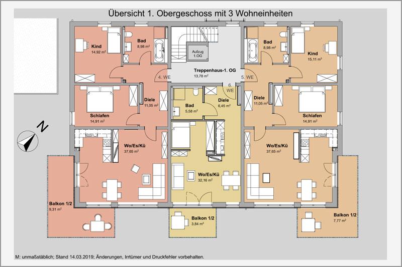 Mehrfamilienhaus in Barbing, Lkr. Regensburg, Übersicht 1. OG