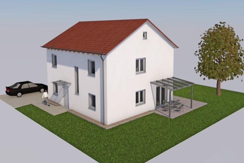 Einfamilienhaus in Barbing, Lkr. Regensburg, Planung Außenansicht