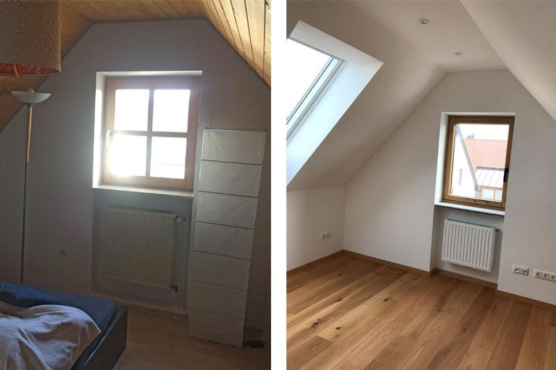 Sanierung Doppelhaushälfte in Alteglofsheim, Lkr. Regensburg, Ansicht Gaube vorher/nachher