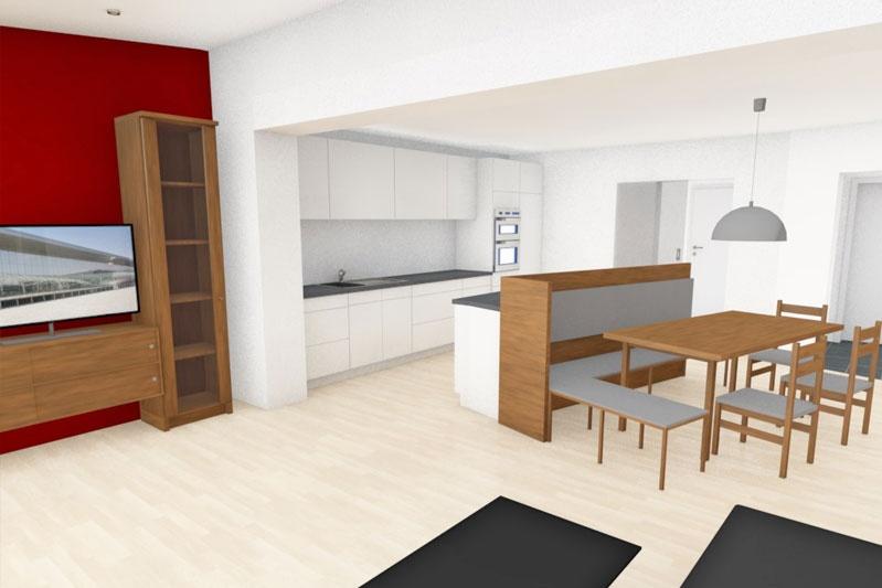 Sanierung Doppelhaushälfte in Alteglofsheim, Lkr. Regensburg, Planung Küche und Essbereich