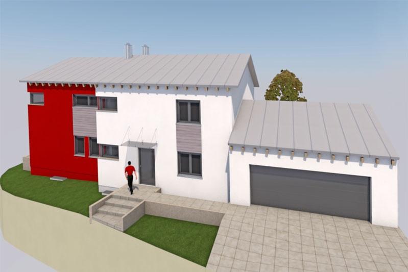 Doppelhaus in Alteglofsheim, Lkr. Regensburg, Planung Außenansicht 1