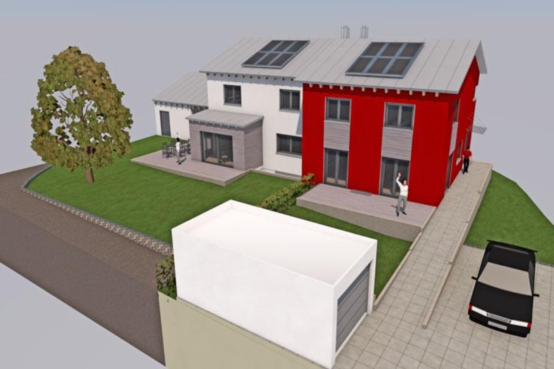 Doppelhaus in Alteglofsheim, Lkr. Regensburg, Planung Außenansicht 2