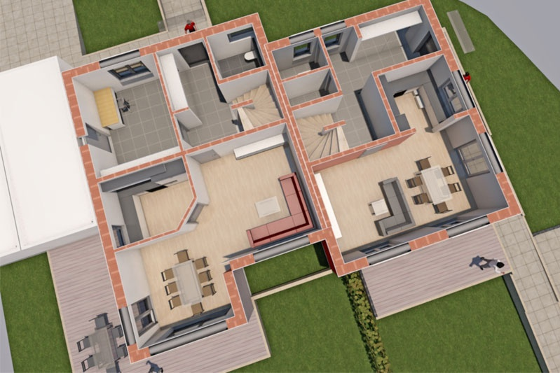 Doppelhaus in Alteglofsheim, Lkr. Regensburg, Plan EG
