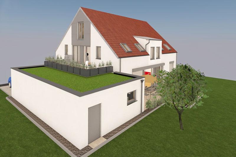 Kettenhaus in Burgweinting, Stadt Regensburg, Planung Gartenseite