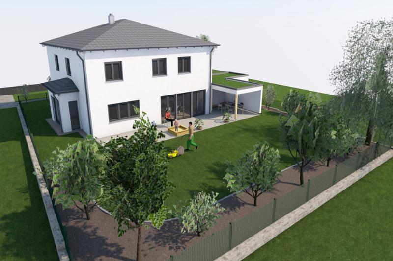 Einfamilienhaus in Neutraubling, Landkreis Regensburg, Planung Gartenseite