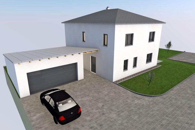 Einfamilienhaus in Barbing, Landkreis Regensburg, Planung Aussenansicht Nordwest