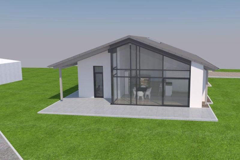 Neubau eines Einfamilienhauses in Mötzing-Dengling, Landkreis Regensburg, Entwurf Aussenansicht